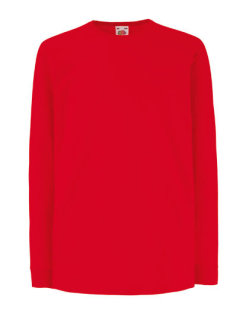 Fruit of the Loom langarm Valueweight T-Shirt Kinder Red 164