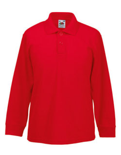 Fruit of the Loom langarm 65/35 Polo Kinder Red 140