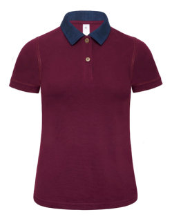 B&C Polo Jeanskragen Forward Frauen Denim/Burgundy M