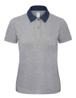 B&C Polo Jeanskragen Forward Frauen Denim/Heather Grey XL