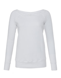 Bella Frauen Sponge Fleece Wide Neck Sweatshirt Solid White Triblend M