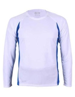 CONA SPORTS Racer Langarm Tech T-Shirt White/Royal Blue XS