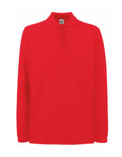 Fruit of the Loom Premium langarm Polo Red XL