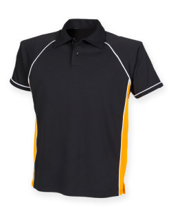 Finden+Hales Piped Performance Polo Black/Amber/White/ S