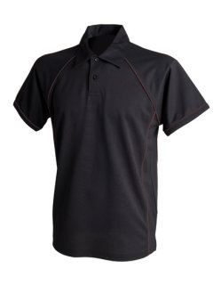 Finden+Hales Piped Performance Polo Black/Black 3XL