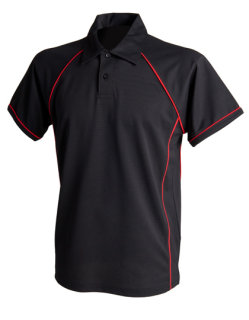 Finden+Hales Piped Performance Polo Black/Red L