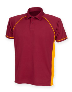 Finden+Hales Piped Performance Polo Maroon/Amber/Amber/ XL
