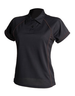 Finden+Hales Frauen Piped Performance Polo Black/Black XXL
