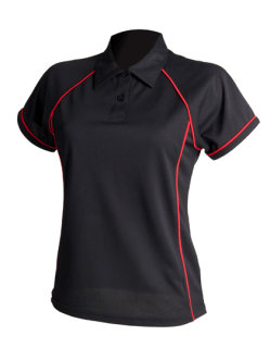 Finden+Hales Frauen Piped Performance Polo Black/Red XXL
