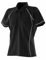 Finden+Hales Frauen Piped Performance Polo Black/White L