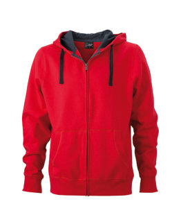 James+Nicholson Männer Hooded Jacke Red/Carbon M