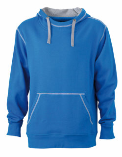 James+Nicholson Männer Lifestyle Hoody Cobalt/Grey Heather XL