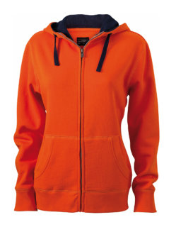 James+Nicholson Frauen Lifestyle Zip-Hoody Dark Orange/Navy XXL