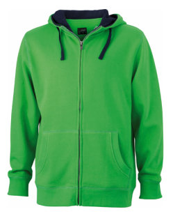 James+Nicholson Männer Lifestyle Zip-Hoody Green/Navy S