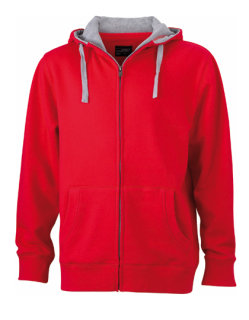 James+Nicholson Männer Lifestyle Zip-Hoody Red/Grey Heather M