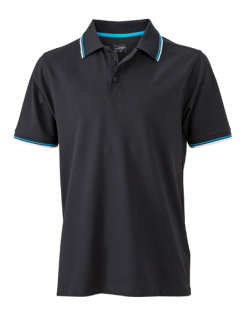 James+Nicholson Männer Coldblack® Polo Black/White/Turquoise/ 3XL