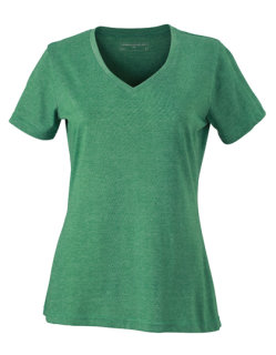 James+Nicholson Frauen Heather T-Shirt Green Melange XXL
