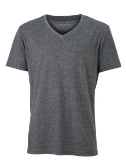 James+Nicholson Männer Heather T-Shirt Black Melange L