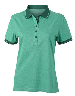 James+Nicholson Frauen Heather Polo Green Melange/Dark Green M